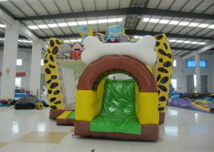 China Hot sale inflatable Stone Age bouncy combo bright colour inflatable stone age jumping house with protection net on sale on sale