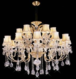 China Energy Saving Elegant Wrought Iron LED Chandelier Lights With Lamp Shades with 18 Lights on sale