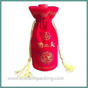 China velvet wine bottle bag with tassels velvet wine drawstring bag on sale