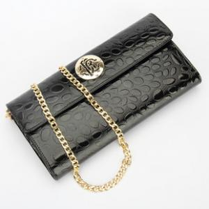 China European American fashion leather ripples big wallet female zipper  Ladies Wallet Purse on sale