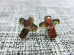 Dichroic Glass stud earrings cross shaped fashion  for Women Jewelry European by original factory wholsale supplier