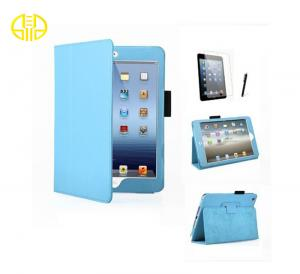 China Blue PU leather Cell Phone Mini Ipad Protective Cases With Holders anti - scratch on sale