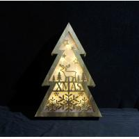 LED Light new product for christmas Wooden Xmas Tree Light Festive Table Top home Decoration