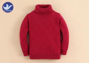 China High Turtle Neck Girls Pullover Sweaters Diamond Knit Pattern Custom Kid Jumper on sale
