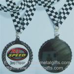 Vintage gun plated metal medals with ribbon lace, retro gun metal medals,