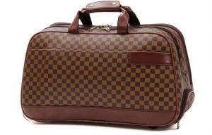 China Grandes sacos de viagem com uso do dobro da mão de Rod de laço, sacos da bagagem do trole do couro do plutônio de Brown on sale
