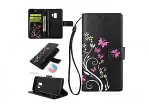 China Flower Leather Flip Cover For Samsung Galaxy S9 / Ultra Slim Women Wallet Case on sale