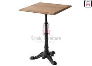 China Solid Wood Top Restaurant Dining Table 3 / 4 Feet Casting Iron Tiger Paw Design on sale