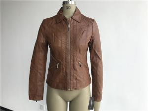 China Ladies Soft Camel Pleather Jacket , Gold Polo Collar Pu Jackets For Womens Tw75798 on sale