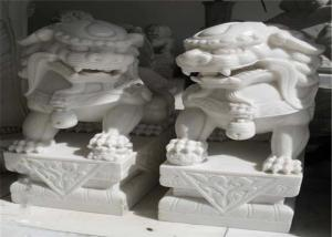 China White Jade Marble Lion Sculpture , Stone Animal Sculptures Customized Color on sale