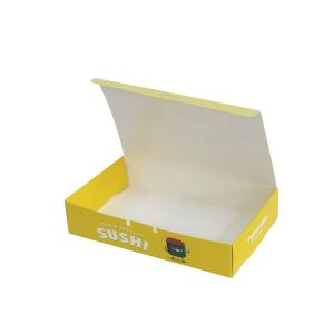 China Yellow Sushi PE Coated Paper Food Custom Printing Packaging Boxes on sale