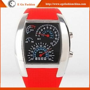 China Black Red Blue Unisex Watches OEM Watch Customized Logo Design LED Display Silicone Watch on sale