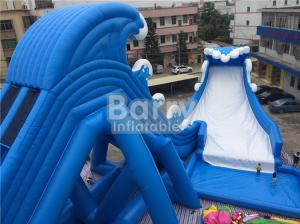 China Blue Wave 36 * 20 * 15m Giant Inflatable Water Slide With Pool CE/UL Blower on sale