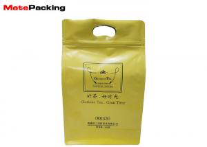 China Zipper Square Bottom Sealing Foil Pouches, Side Gusset Die Cut Handle Aluminum Pouches For Food on sale