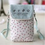 2018 Custom Cute fresh floral cotton mini crossbody cell phone purse bag for women