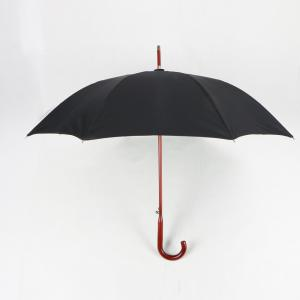 China Unique Wood Curved Handle Umbrella 23 Inch Double Canopy Fiberglass Frame on sale