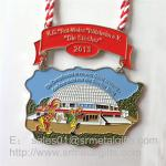 Enamel paint half Marathon medals and medallions with lace ribbon, enamel sport medals,