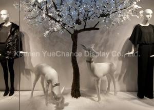 China Handmade Resin Deer Sculpture , Life Size Animal Statues In White Color on sale