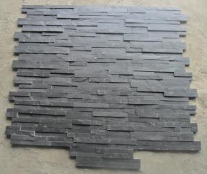 China Charcoal Slate Thin Stone Veneer,Black Split Face Slate Z Stone Panel,Riven Slate Stacked Stone,Black Slate Culture Ston on sale