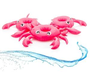 China Crab Drink Cup Coaster Holder Pink Inflatable Floating Drink Holder Pool 3 Set on sale