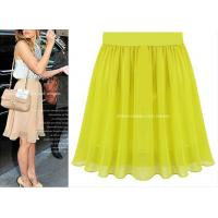 China Summer Chiffon Pleated Skirt Female Solid European Maxi Women Skirts 5Colors on sale