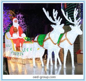 China 200-400W Large Santa Claus Deer Cart Lights Christmas Decoration Lights on sale