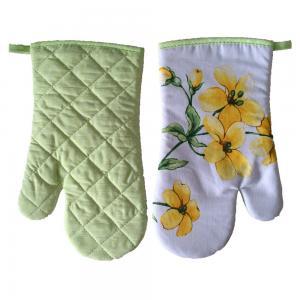 China Tissu 100% de coton faisant cuire l'azo floral calorifuge de gants de four de cuisine librement on sale