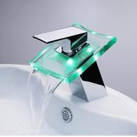China 3 RGB Color LED Lighted Waterfall Sink Faucet on sale