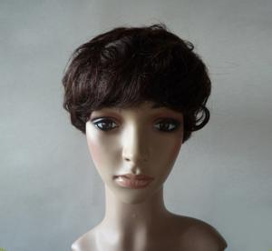 China Brown Natural Human Hair Wigs With Bangs , Short Curly Human Hair Wigs on sale