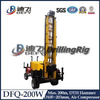 DFQ-200W High Efficient Trailer DTH Rock Drill Rig, Portable Drilling Rig Machine for Sale