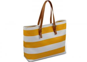China Jet Set Travel Saffiano Leather Top-Zip Tote Yellow Stripes Big Shoulder Bag on sale