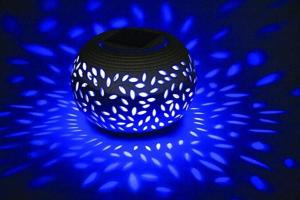 China Solar Ceramic Lantern LED Solar Camping Lights , Novelty Garden Ball Lights RGB Color on sale
