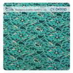 Tela metálica verde do laço da guipura, laço de nylon da flor do tecido de algodão