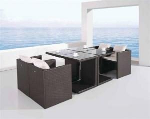 China Outdoor Furniture-Patio Rattan/Wicker Dining Table and Chair Set (D585 & S285) on sale