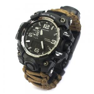 China Outdoor High Quality Corrosion Resistant Brown Multifunctional Emergency Survival Watch With Nylon Paracord Wristband on sale