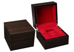 China Handmade Mens Watch Display Case , Square Red Color Velvet Wooden Watch Case on sale