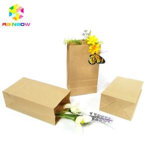 China Food Grade Kraft Paper Flat Bottom Bag Biodegradable Grease Proof Snack Packaging on sale