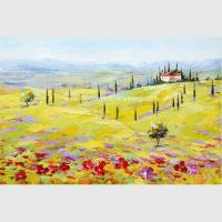 China Modern Abstract Landscape Oil Painting Yellow Red Tuscany Village Companies Decor on sale