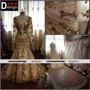China Popular Real Sample Exquisite A-line Golden Beaded Long Sleeve Saudi Arabia Zuhair Murad Dresses For sale on sale