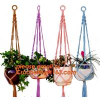 COTTON ROPE BRAIDED FLOWER POTS HOLDER, DECORATIVE MACRAME PLANT HANGERS, HOUSEHOLD ARTICLES