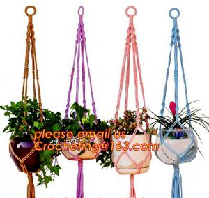 China COTTON ROPE BRAIDED FLOWER POTS HOLDER, DECORATIVE MACRAME PLANT HANGERS, HOUSEHOLD ARTICLES on sale