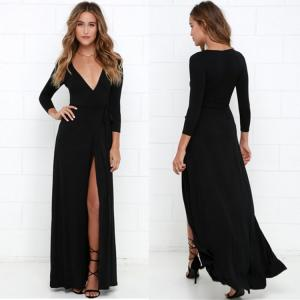China Sexy Long Plain Black Dresses For Girls on sale