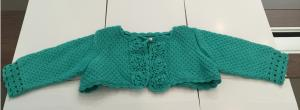 China Computer Pattern Knitted Girls Short Cardigan , Cotton Long Sleeve Green Crochet Sweater on sale