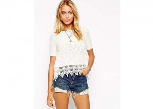 China Summer Womens Tops And Blouses With Short Sleeve Round Neckline Crochet Lace Hem on sale
