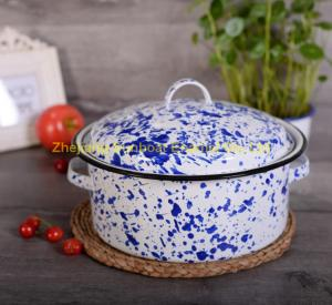 China blue+white color cast iron 5QT enamel stock pot with cover and handles on sale