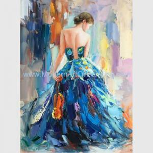 China Female Oil Painting by Palettle Knife Colorful Woman abstract Canvas Art on sale