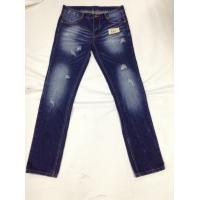China Dark Blue Mens Slim Straight Jeans Acid Wash 100 Percent Cotton And Spandex on sale