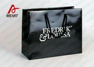 China Black Glossy Lamination Custom Printed Retail Bags , Modern Kraft Paper Shopping Bags on sale