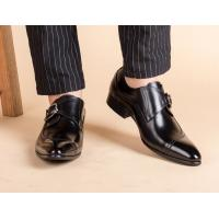 Round Toe Black Derby Mens Leather Dress Shoes With Buckle Banquet Oxford