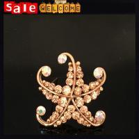 Golden Crystal Brooch Wholesale ,Starfish Cute Brooch Luxury Suits Men Jewelry Wholesale